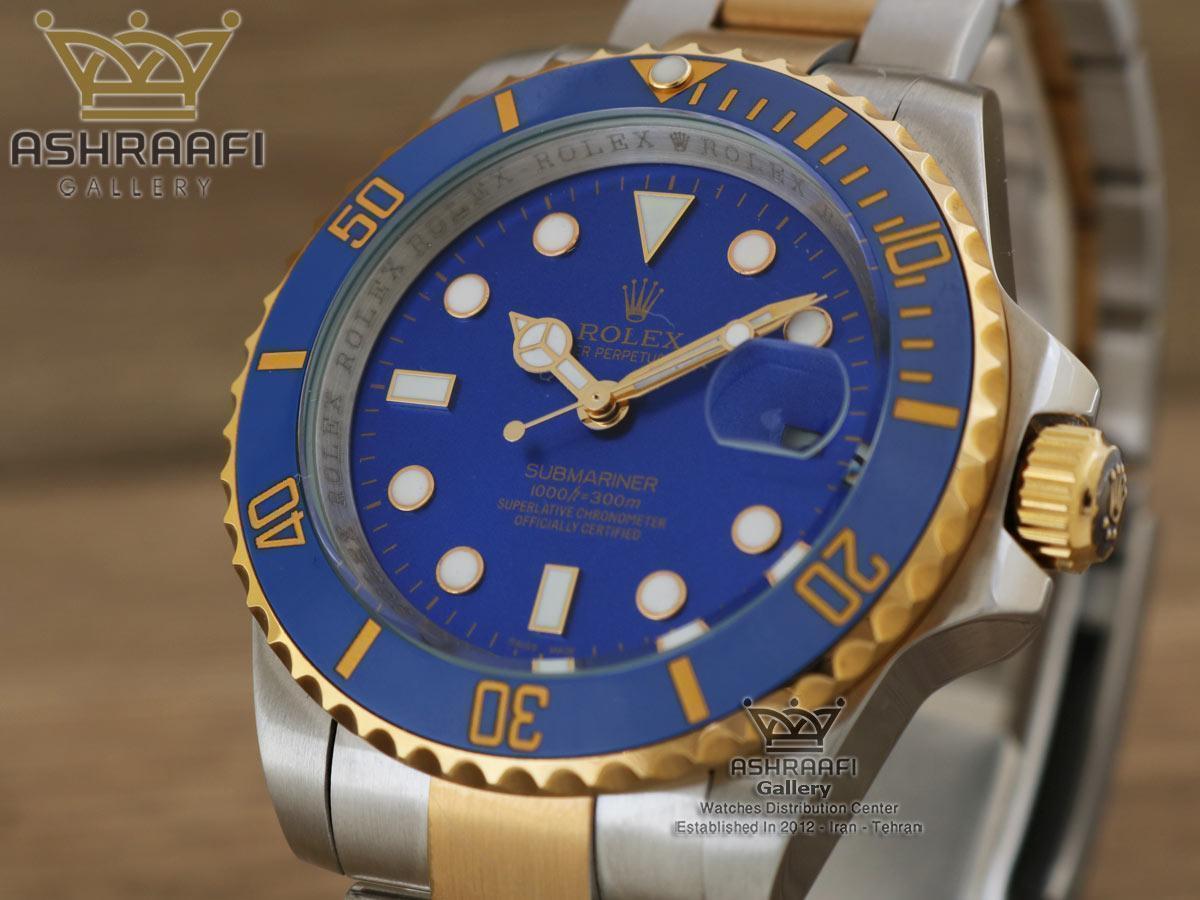 فروش ساب مارینر رولکس دو رنگ طلایی با صفحه آبی