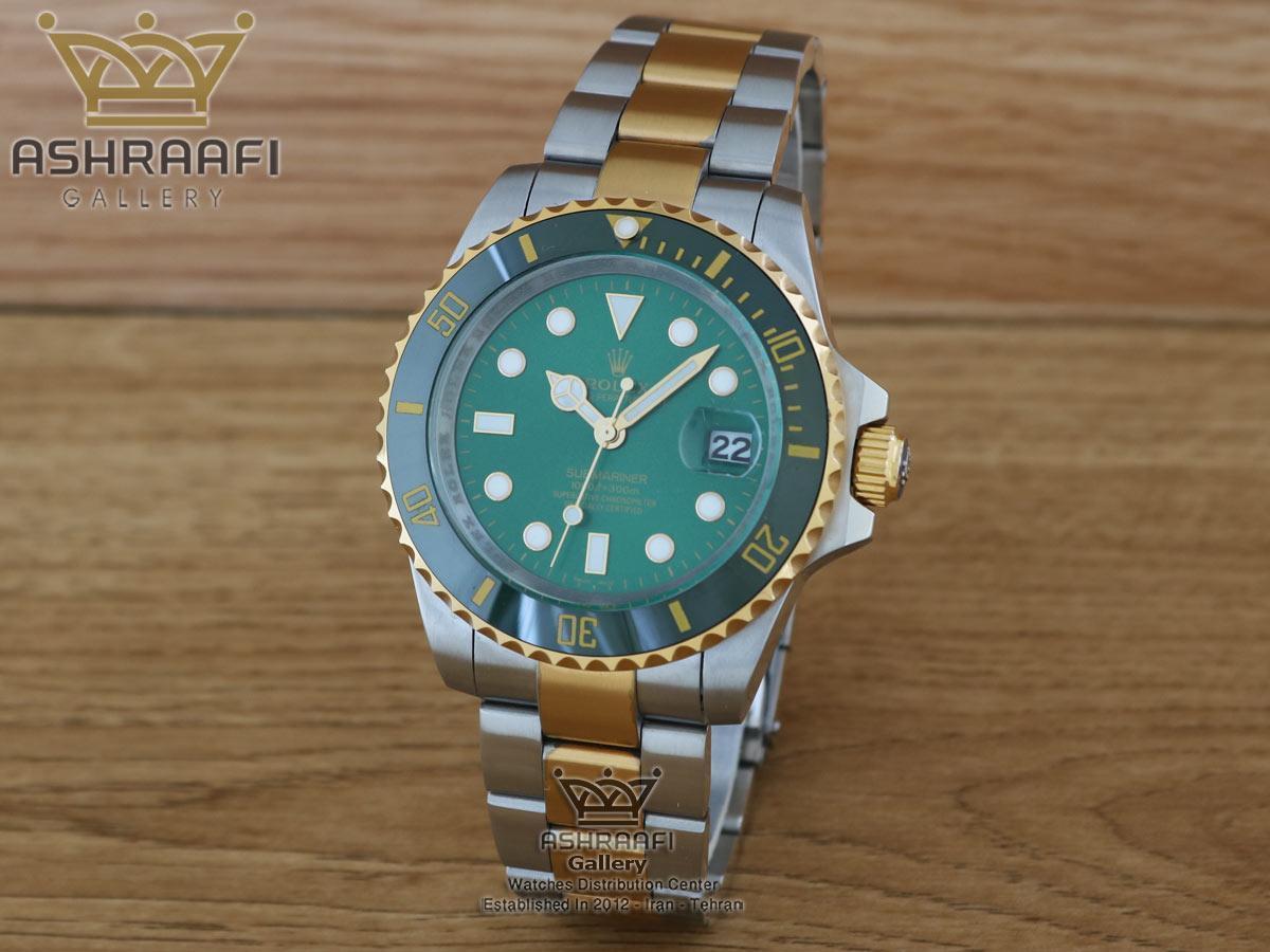 رولکس ساب مارینر دو رنگ طلایی صفحه سبز Rolex Submariner G