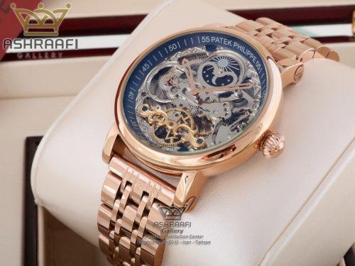 فروش ساعت اسکلتون بند فلزی Patek Philippe SR2