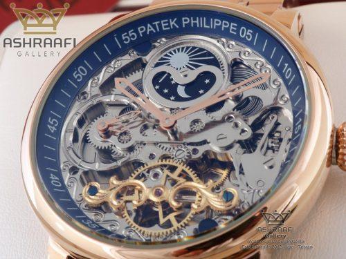 قیمت ساعت اسکلتون بند فلزی Patek Philippe SR2