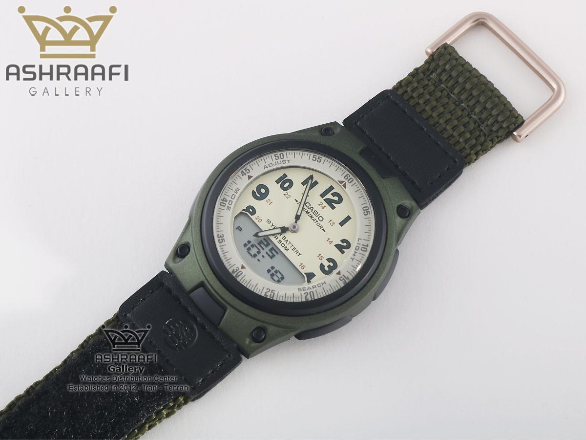 ساعت اصلی کاسیو بند پارچه ای سبز تیره Casio AW-80V-3BVDF