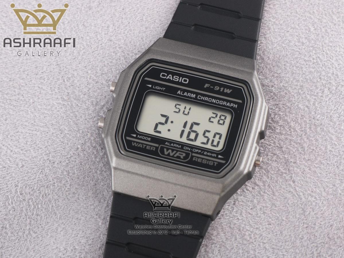 ساعت قاب خاکستری Casio-F-91WM