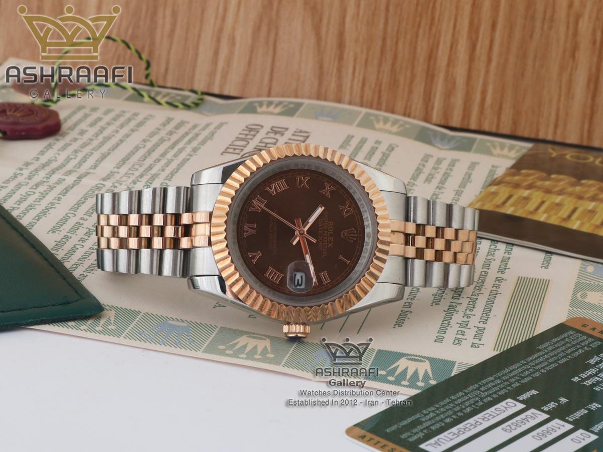 رولکس دیجاست صفحه شکلاتی اندکس یونانی Rolex datejust Sh2D