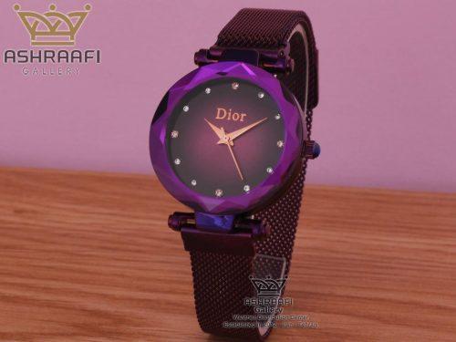 ساعت بنفش دیور با بند حصیری Dior-1801VB-06