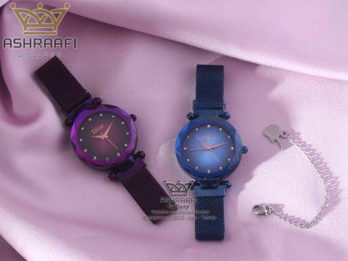 فروش ساعت زنانه دیور بنفش و آبی رنگ Dior-1801VB-06