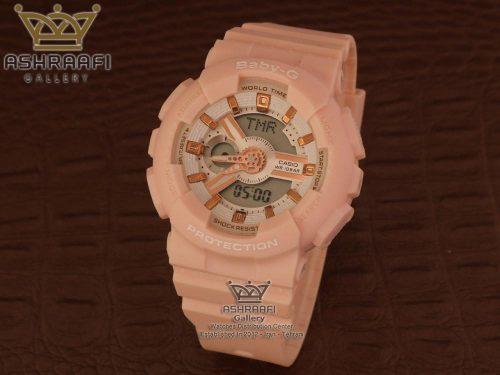 ساعت زنانه گلبه ی رنگ Baby-g BA-110RG