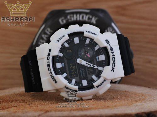 جی شاک سفید با بند مشکی G-shock GAX-100MB