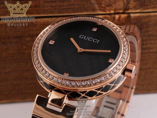 ساعت صفحه مشکی و قاب رزگلد گوچی Gucci 6806R