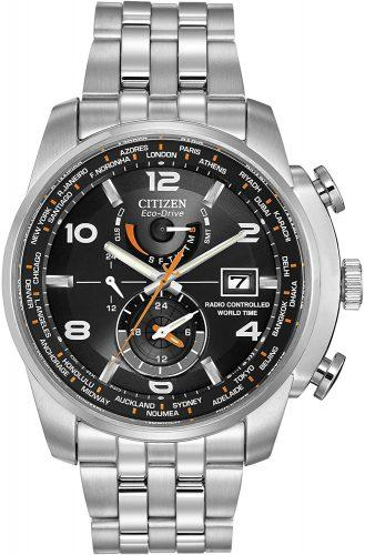 Citizen Eco-Drive Silvertone and Black World Time A-T Watch