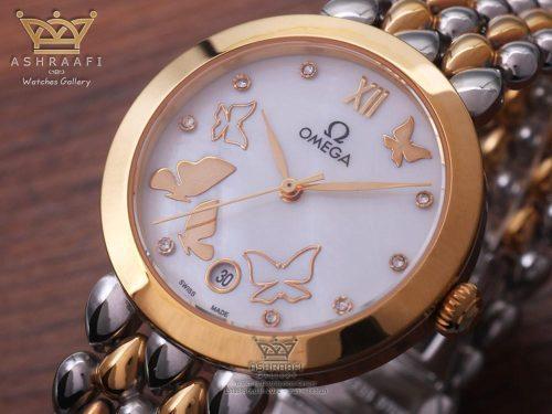 صفحه ساعت امگا دویل پروانه ای Omega Deville Prestige Dewdrop White Butterfly