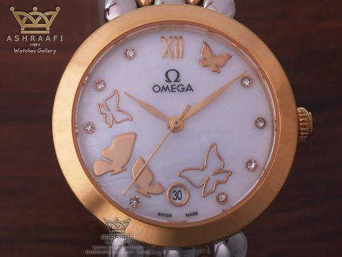 صفحه ساعت امگا پروانه ای Omega Deville Prestige Dewdrop White Butterfly