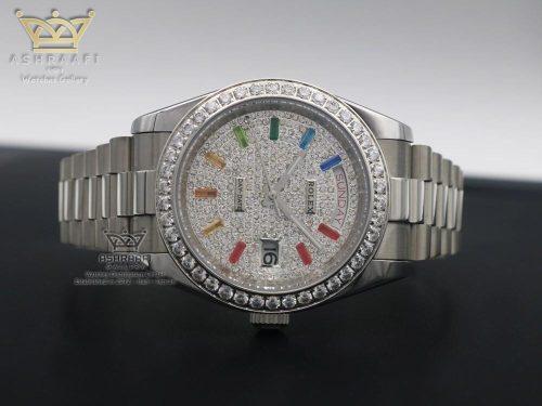 ساعت رولکس اندکس نگین رنگی