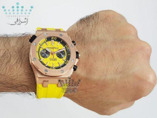 عکس روی مچ ساعت زرد مردانهAudemars Piguet Royal Oak Y7