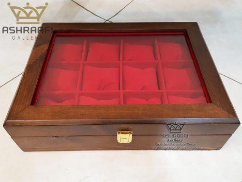 جعبه ساعت چوبی 12 عددی