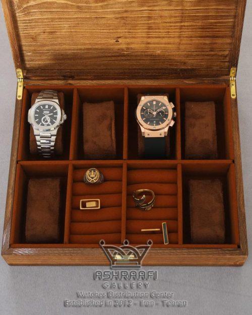 باکس نگهداری ساعت تمام چوبی قهوه ای Box Watches 8 WB