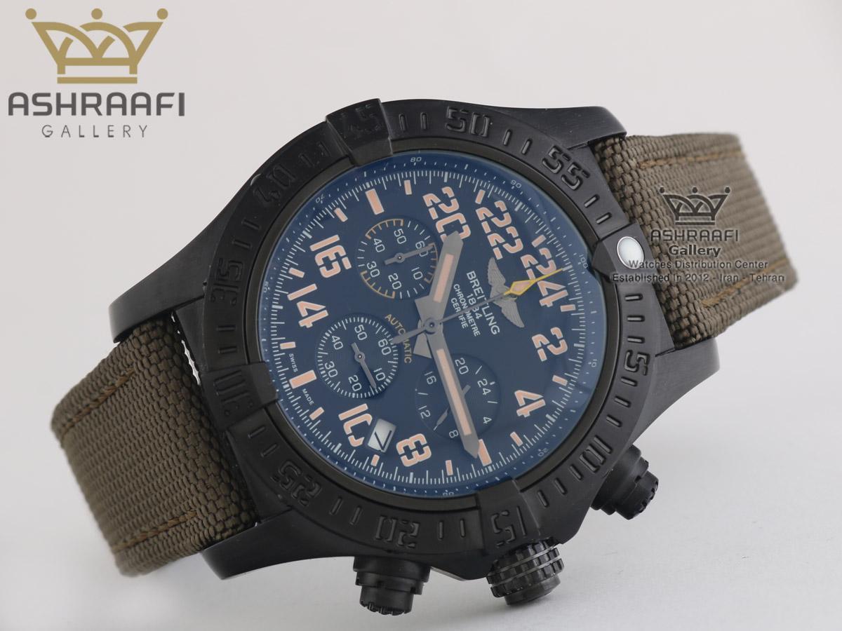 ساعت بند برزنت قاب مشکی برایت لینگ Breitling A13370