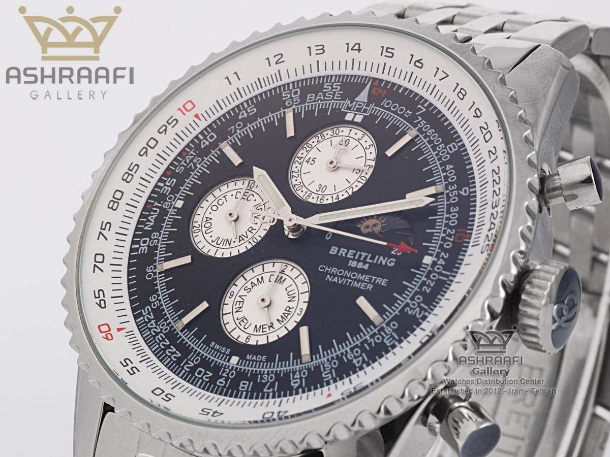 ساعت صفحه سیاه تمام فلزی خلبانی برایت لینگ Breitling Certifie A13356