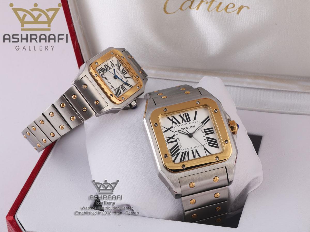 ساعت ست کارتیه سانتوز تمام فلزی Cartier Santos 100-2CFS