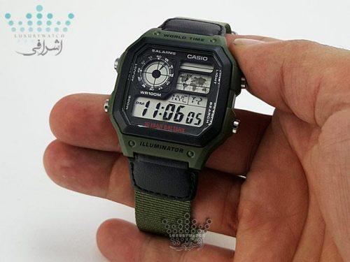 ساعت بند سبز زیتونیCasio AE-1200WHB-3bvdf