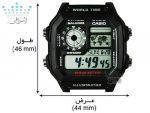 سایز ساعت کاسیو AE-1200WH-1AVDF