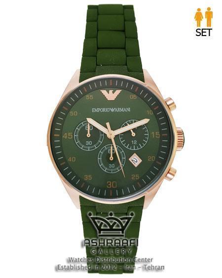 ساعت امپریو آرمانی سبز و رزگلد Empori Armani AR-5919G