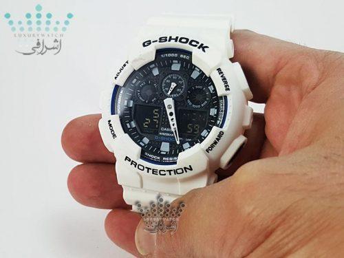 جی شاک سفید رنگ G-Shock GA-100BW