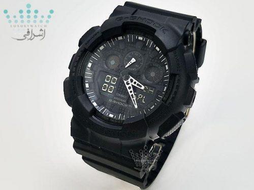 ساعت مردانه تمام مشکی جی شاک G-Shock GA-100F