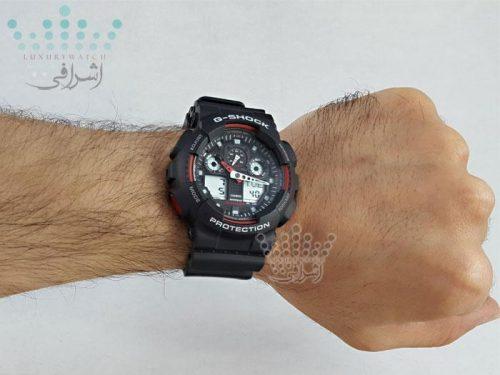 عکس روی دست ساعت جی شاکG-shock GA-100-1A4DR-08