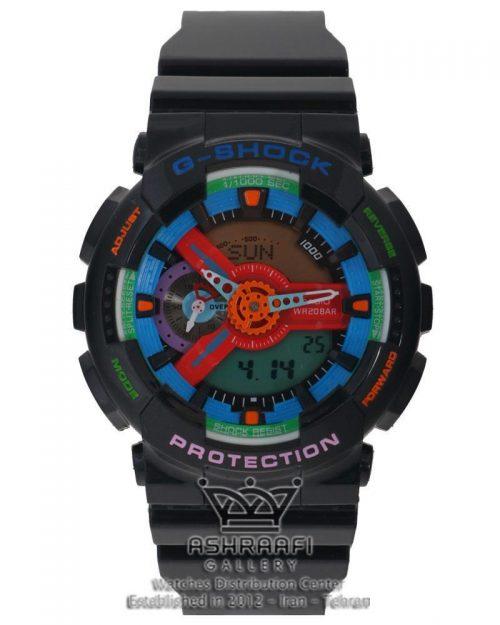 فروش ساعت جی شاک بدنه و بند مشکی و صفحه چند رنگ