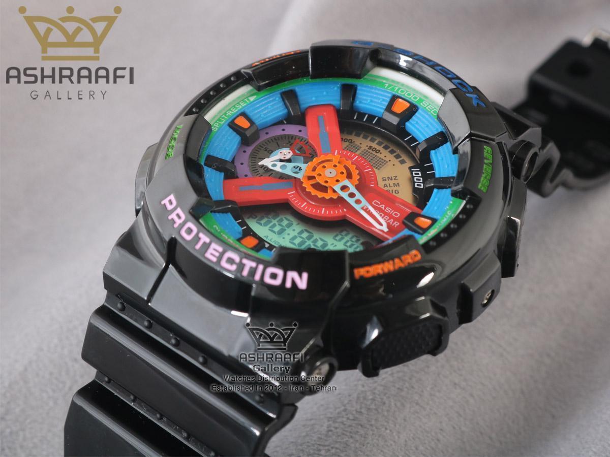 ساعت صفحه آبی و قرمز جی شاک G-shock GA-110 F7