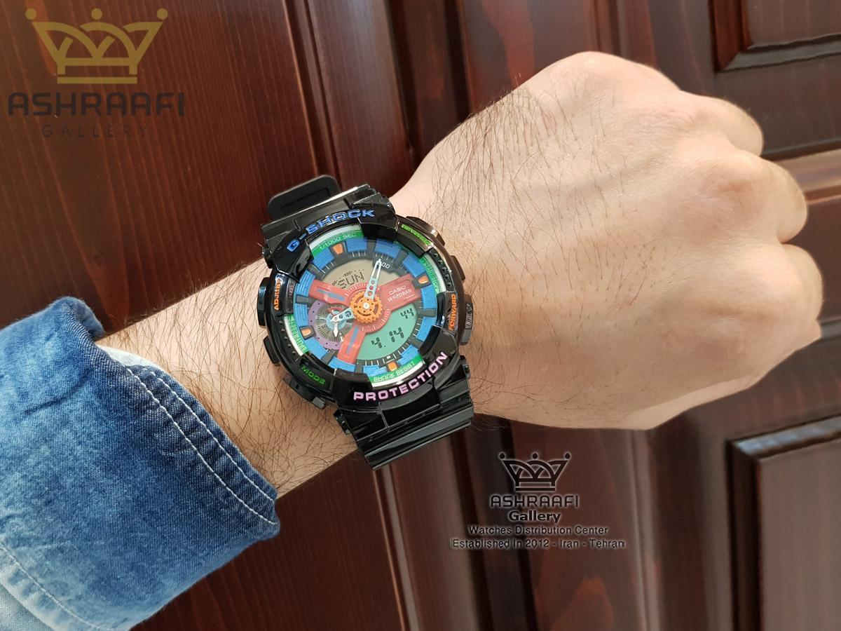 عکس روی مچ ساعت صفحه چند رنگ جی شاک G-shock GA-110 F7