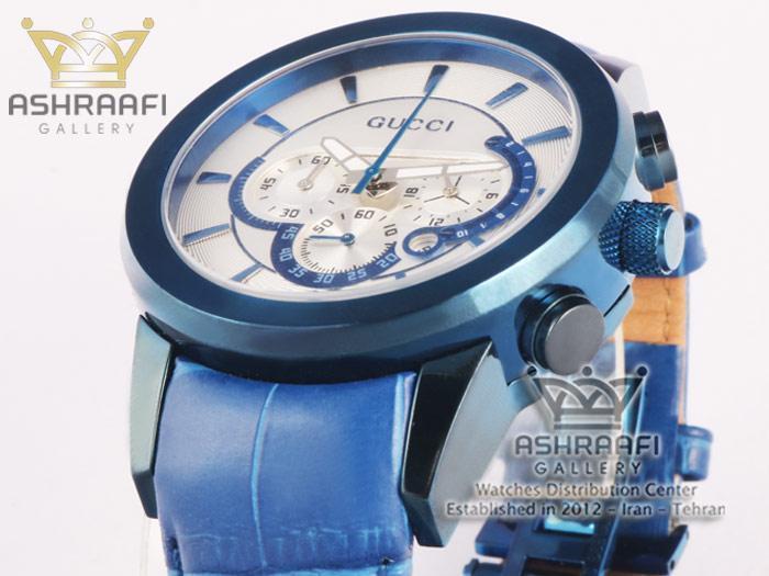 ساعت قاب و بند آبی و صفحه سفید گوچی Gucci 340G