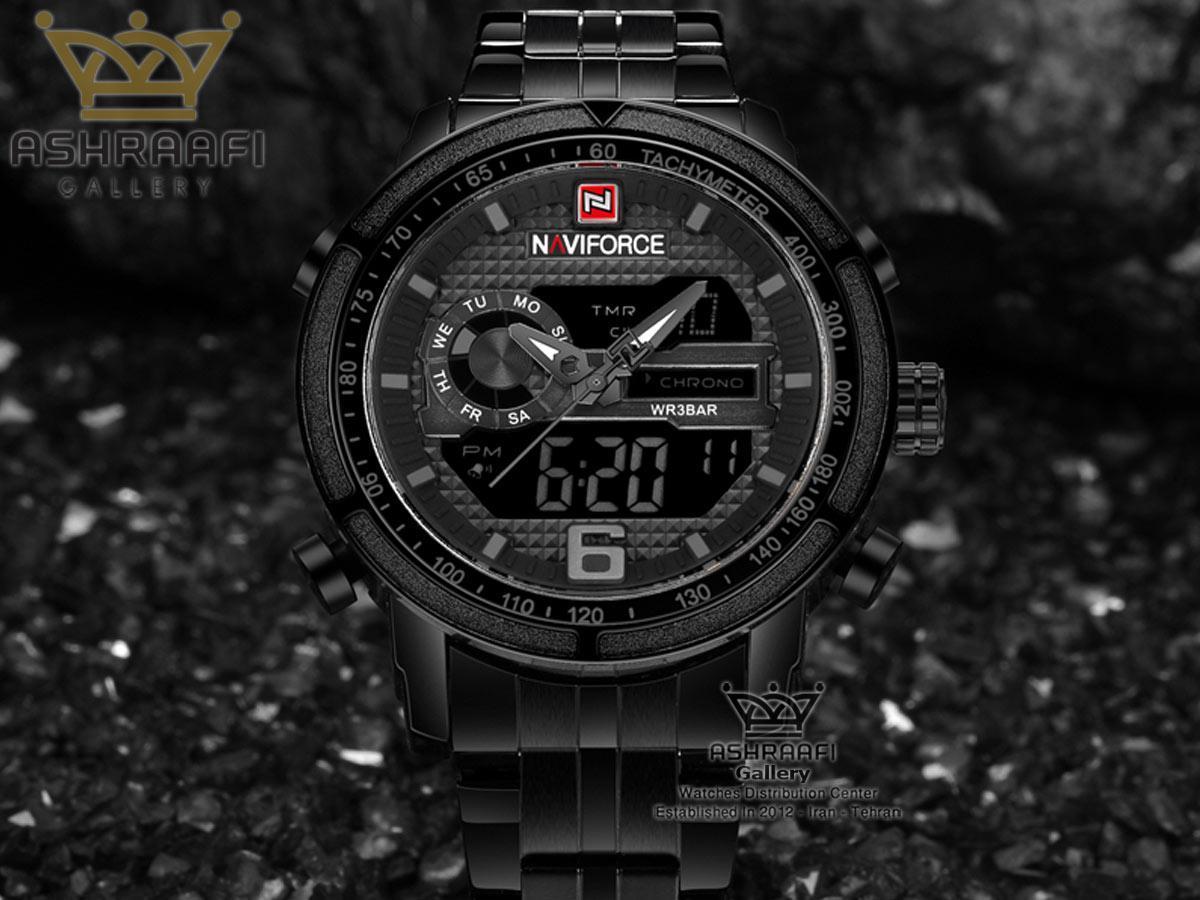 ساعت فلزی مشکی رنگ ناوی فورس Naviforce 9119M