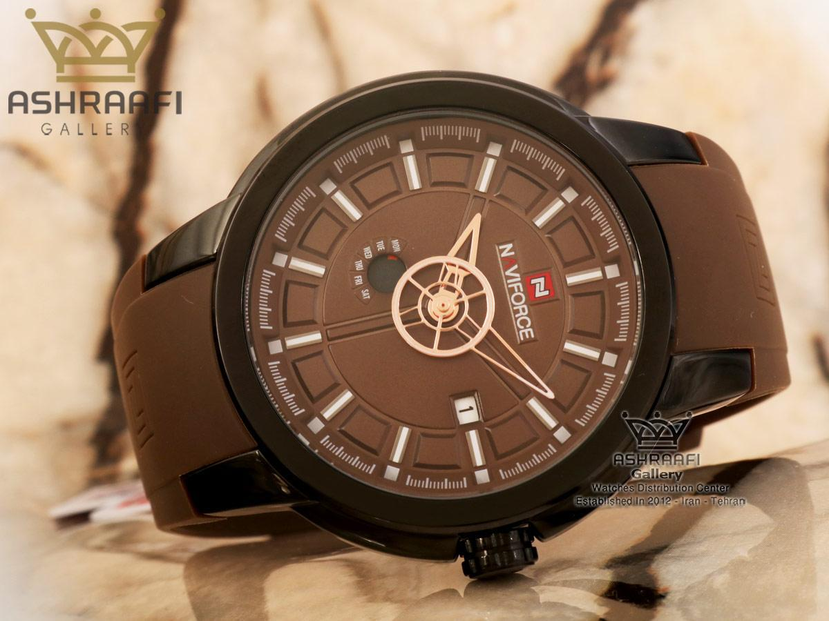 ساعت ناوی فورس صفحه قهوه ای Naviforce NF9107M