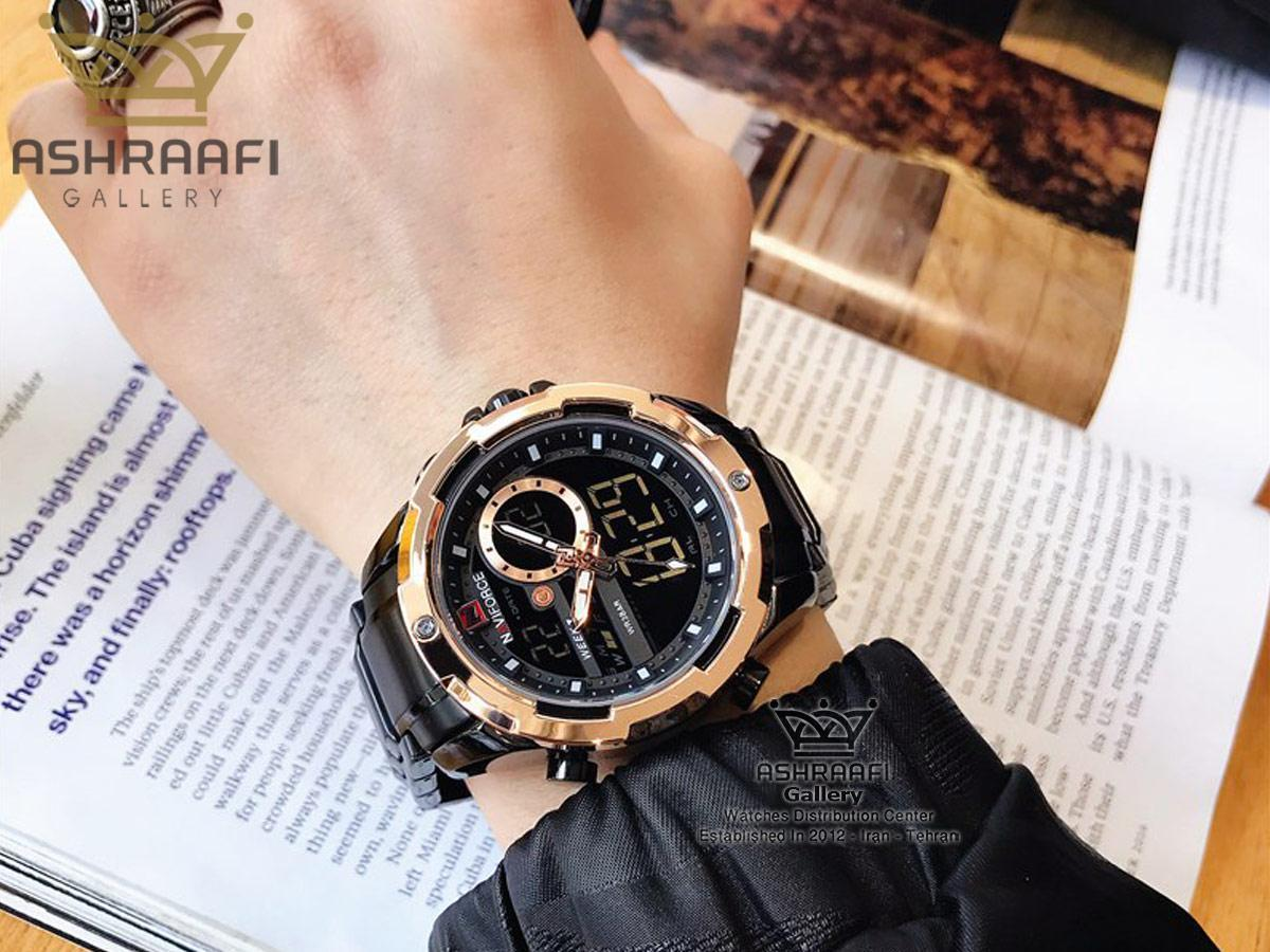 عکس روی مچ ساعت ناوی فورس اورجینال تمام فلزی Naviforce NF9120M