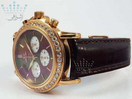 ساعت بند ورنی قهوه ای - Omega De-Ville-138-05