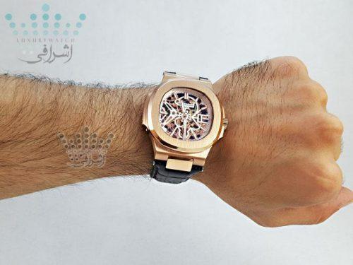 عکس روی دست ساعت مچی پتک فیلیپ مدل ناتیلوس اسکلتون