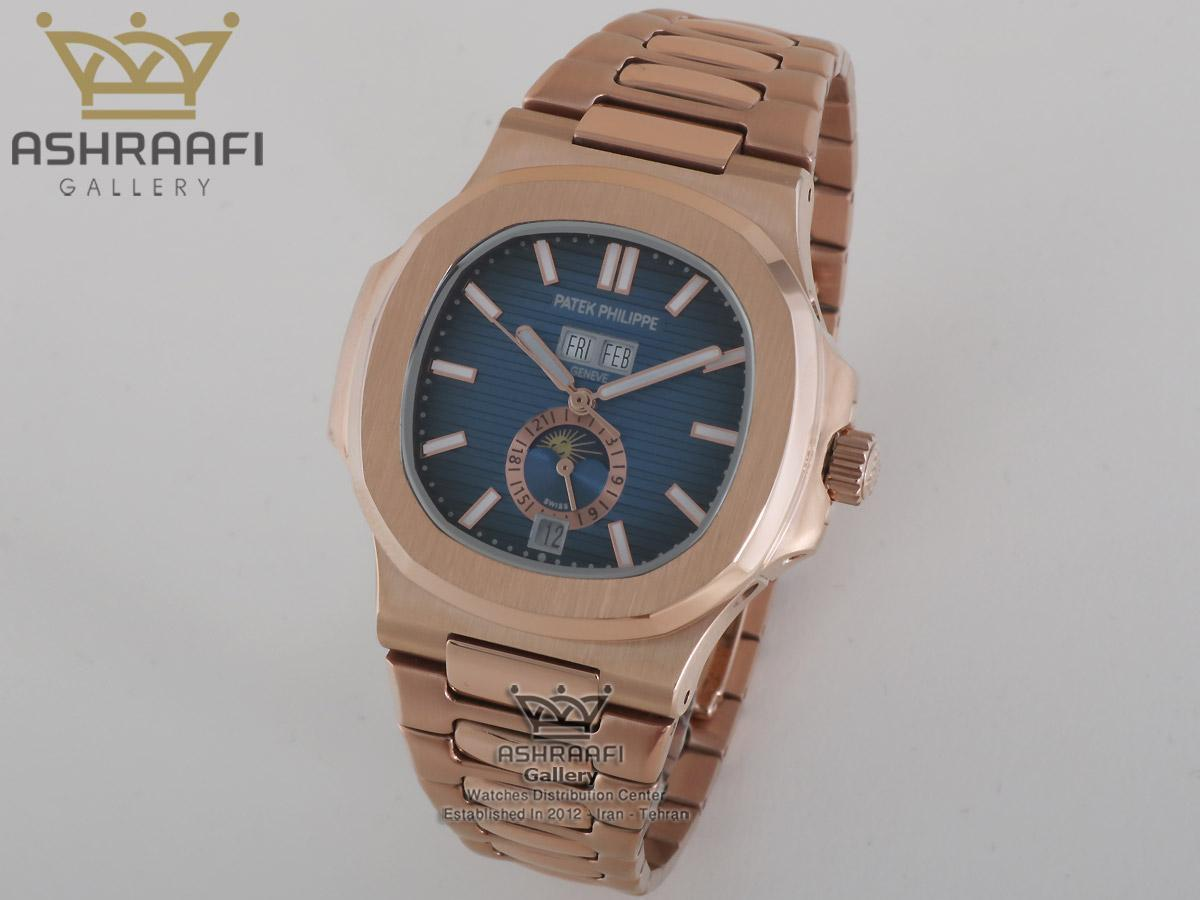 فروش ساعت ناتیلوس سه تقویم تمام رزگلد Patek Philippe Nautilus SR