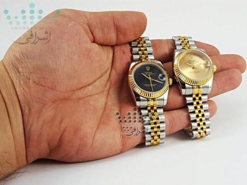 ساعت صفحه مشکی و صفحه طلایی rolex-date-just-f03-06