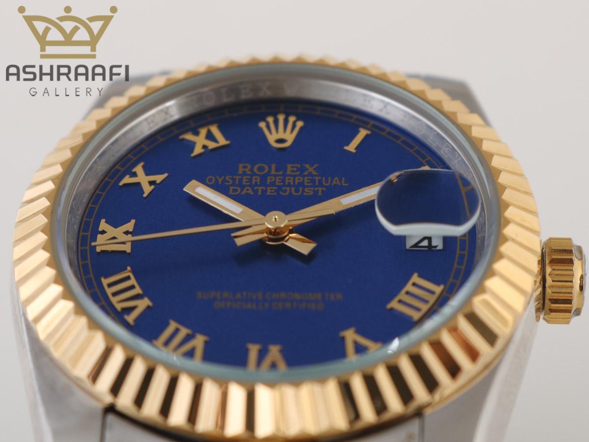ساعت دیت جاست رولکس با صفحه سورمه ای و اندکسهای یونانی ROLEX Datejust 08