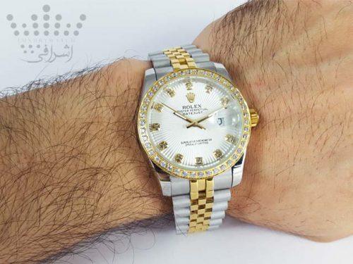 نمای روی دست ساعت رولکس دیت جاست نگین دار مردانه
