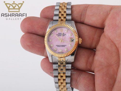 رولکس سایز مدیوم زنانه صفحه صورتی Rolex DateJust PN1