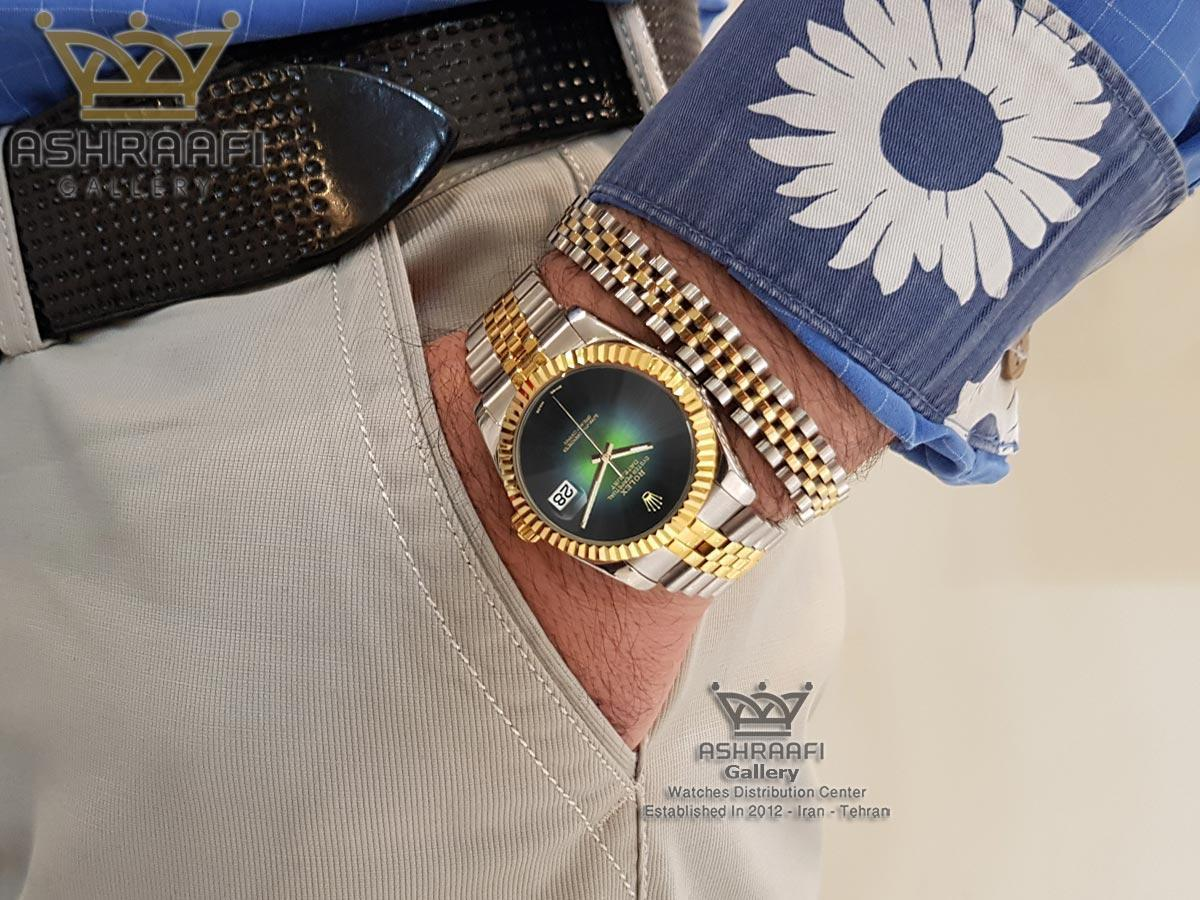 فروش ساعت رولکس دیجاست صفحه مشکی و سبز
