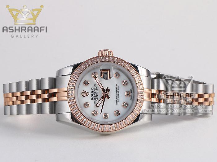 ساعت زنانه دو رنگ رزگلد دور نگین رولکس Rolex Datejust N3
