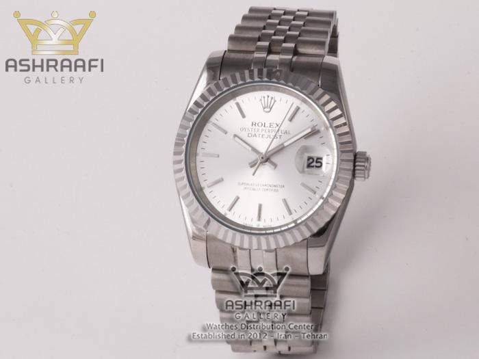 ساعت تمام استیل صفحه سفید رولکس Rolex datejust SW2