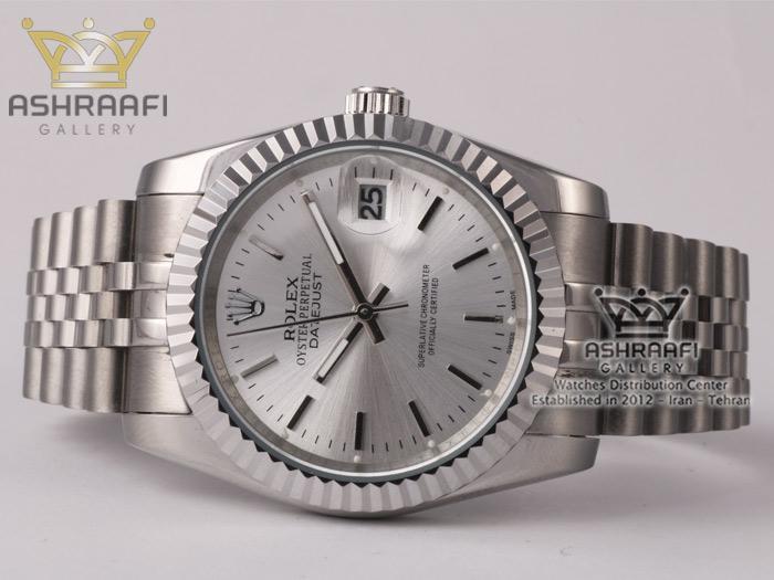 ساعت رولکس دیجاست نقره ای با صفحه سفید