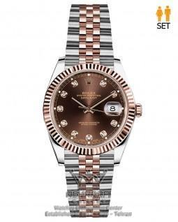 ساعت صفحه شکلاتی رولکس مدل دی جاست نگین دار