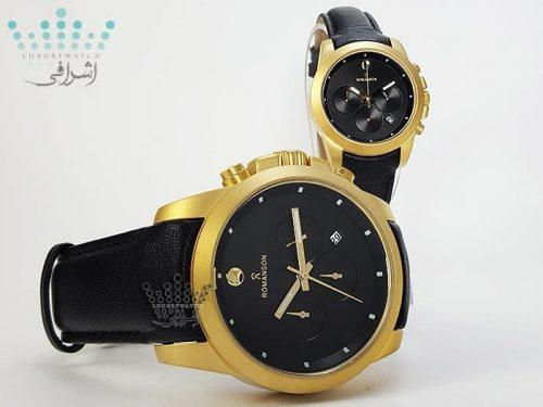 ست ساعت مردانه و زنانه طلایی و مشکی Romanson 16020G2