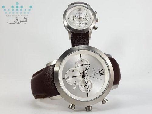 ساعت ست بدنه استیل با بند قهوه ایRomanson 16081G