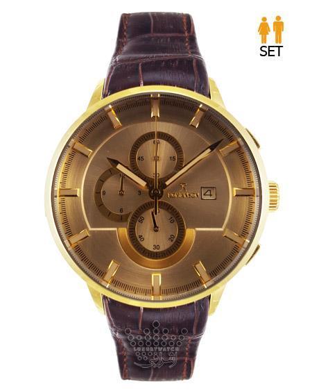 ساعت مچی جفت طلایی قهوه ای رنگ رومانسون - Romanson S1266G